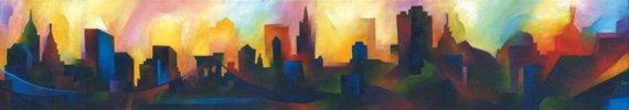 Manhattan Cityscape (Springtime) by Julia Cocuzza