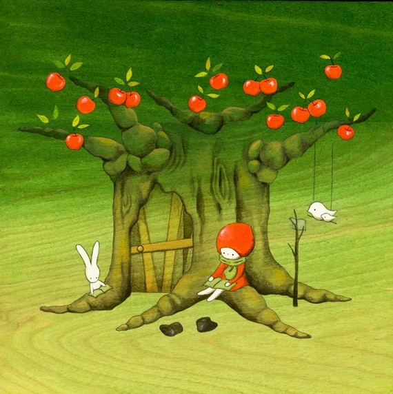 My Apple Tree House - Reading - by Naoko Stoop featuring Red Knit Hat Girl