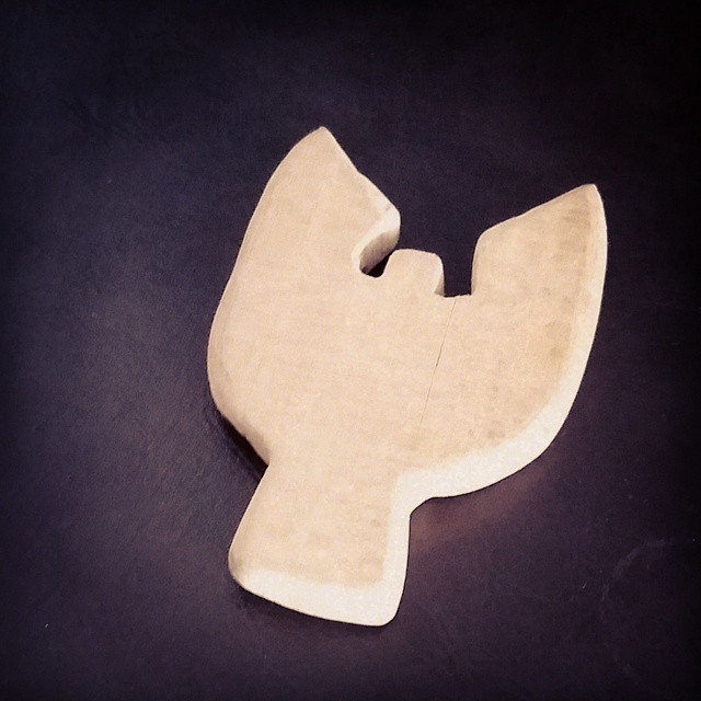 This is my favorite small treasure: a small wooden bird my brother carved for me when he was a wee lad.